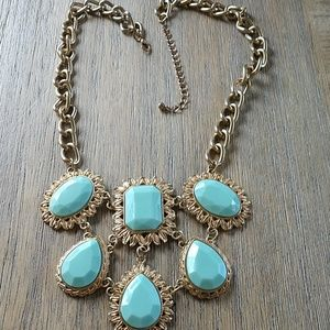Pretty aqua and gold drop statement necklace
